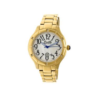 Bertha Womens Jaclyn Mother-Of-Pearl Silver Dial Gold Bracelet Swiss Watchbthbr4803