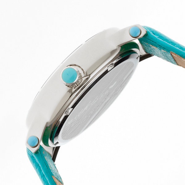 Bertha Womens Chelsea Mother-Of-Pearl Turquoise Leather-Band Watchbthbr4901