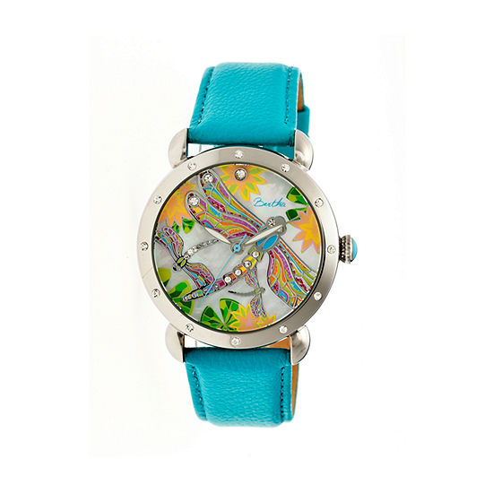 Bertha Womens Jennifer Mother-Of-Pearl Turquoise Leather-Band Watchbthbr5001