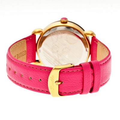 Bertha Womens Jennifer Mother-Of-Pearl Hot Pink Leather-Band Watchbthbr5004