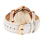 Bertha Womens Jennifer Mother-Of-Pearl White Leather-Band Watchbthbr5005