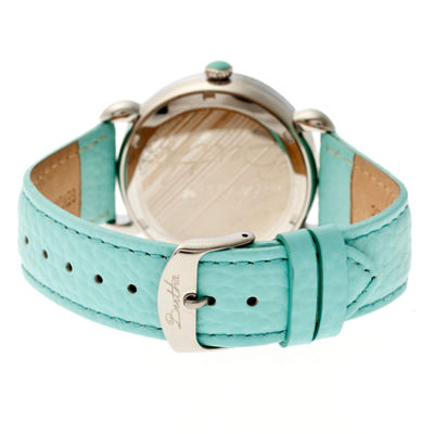 Bertha Womens Estella Mother-Of-Pearl Turquoise Leather-Band Watchbthbr5101