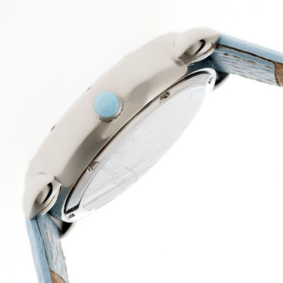 Bertha Womens Estella Mother-Of-Pearl Poweder Blue  Leather-Band Watchbthbr5102