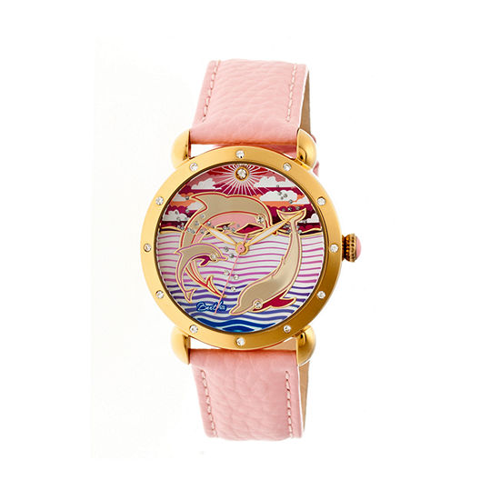 Bertha Womens Estella Mother-Of-Pearl Light Pink Leather-Band Watchbthbr5104