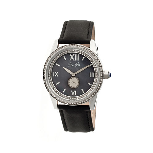 Bertha Womens Emma Mother-Of-Pearl Black Leather-Band Watchbthbr5202