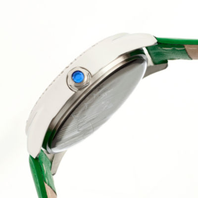 Bertha Womens Emma Mother-Of-Pearl Green Leather-Band Watchbthbr5203