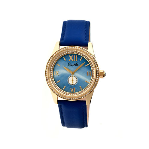 Bertha Womens Emma Mother-Of-Pearl Blue Leather-Band Watchbthbr5204