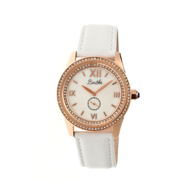 Bertha Womens Emma Mother-Of-Pearl White Leather-Band Watchbthbr5205