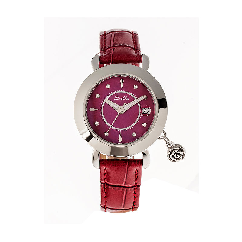 Bertha Womens Rose Mother-Of-Pearl Red Leather-Band Watch With Datebthbr5501