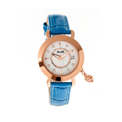 Bertha Womens Rose Mother-Of-Pearl Cerulean Leather-Band Watch With Datebthbr5505