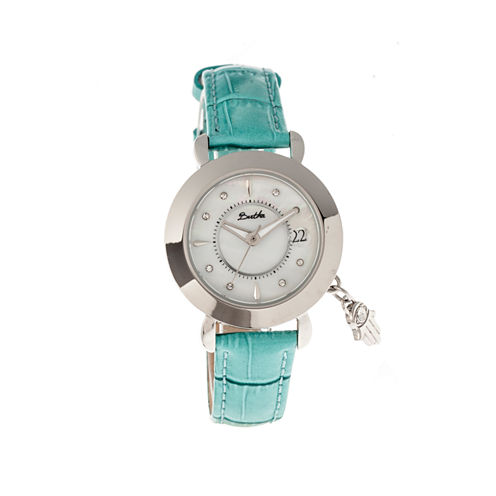 Bertha Womens Hannah Mother-Of-Pearl Turquoise Leather-Band Watch With Datebthbr5601