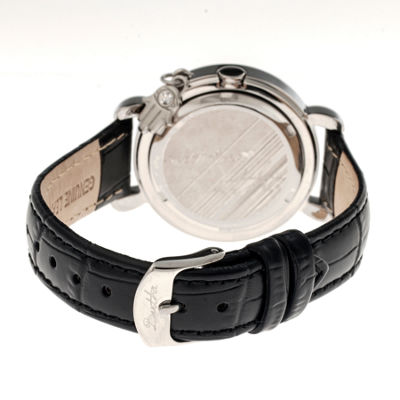 Bertha Womens Hannah Mother-Of-Pearl Black Leather-Band Watch With Datebthbr5602