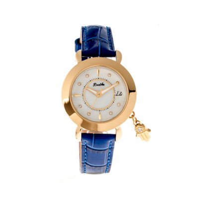 Bertha Womens Hannah Mother-Of-Pearl Blue Leather-Band Watch With Datebthbr5604