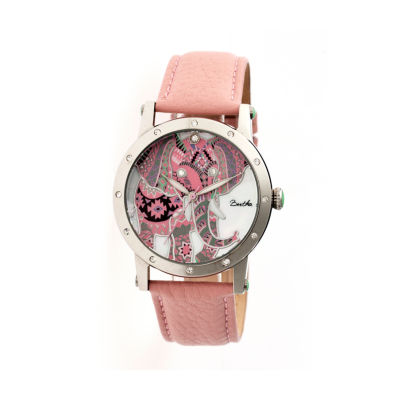 Bertha Womens Betsy Mother-Of-Pearl Light Pink Leather-Band Watchbthbr5702