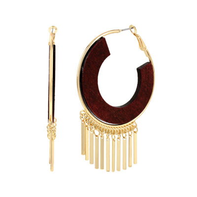 Bleu™ Wood Hoop Gold-Tone Earrings
