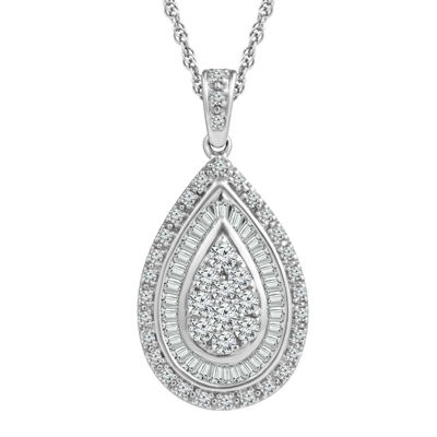 LIMITED QUANTITIES 1/2 CT. T.W. 10K White Gold Drop Pendant Necklace