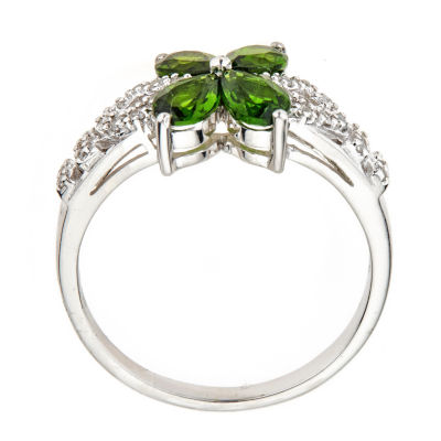 LIMITED QUANTITIES Chrome Diopside Sterling Silver Flower Ring
