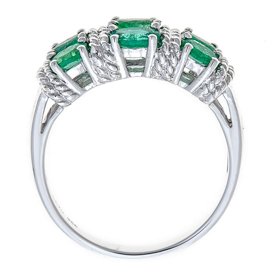 LIMITED QUANTITIES Lab-Created Emerald Sterling Silver Ring