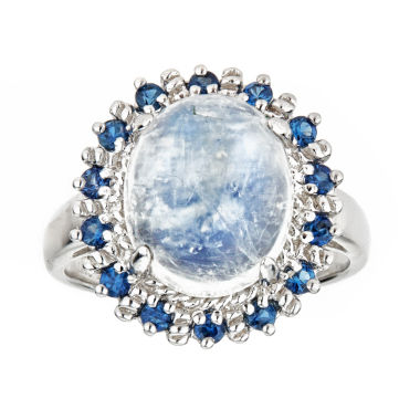 LIMITED QUANTITIES Blue Moonstone and Sapphire Sterling Silver Ring