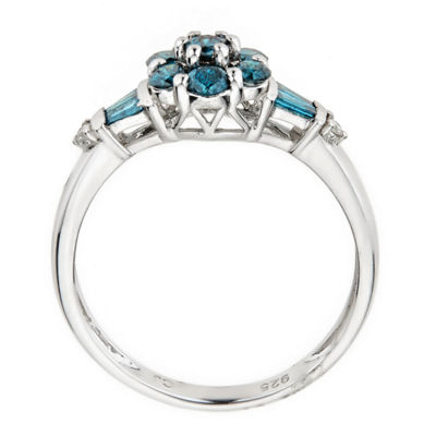 LIMITED QUANTITIES Color-Enhanced Blue Diamond Sterling Silver Flower Ring