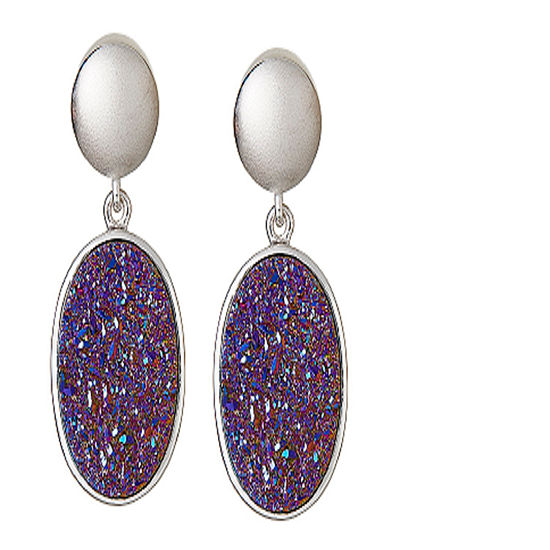 LIMITED QUANTITIES Oval Drusy Quartz Sterling Silver Drop Earrings