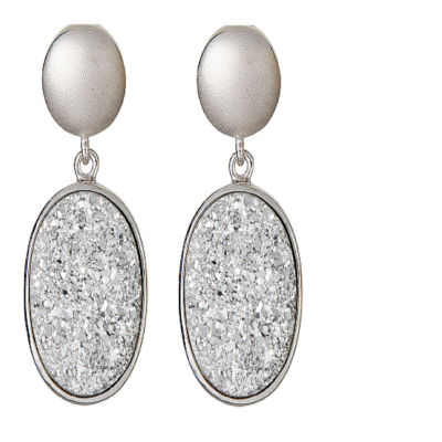 LIMITED QUANTITIES Oval Drusy Quartz Sterling Silver Drop Earrings 1