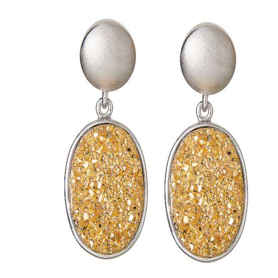 LIMITED QUANTITIES Oval Drusy Quartz Sterling Silver Drop Earrings 2