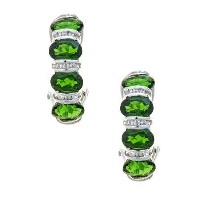 LIMITED QUANTITIES Round Chrome Diopside Sterling Silver Drop Earrings