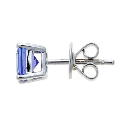 LIMITED QUANTITIES Genuine Cushion-Cut Tanzanite Sterling Silver Stud Earrings