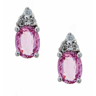 LIMITED QUANTITIES  Lab Created Pink Oval Sapphire 14K White Gold Stud Earrings