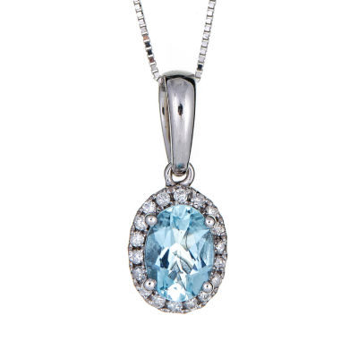 LIMITED QUANTITIES  Genuine Oval Aquamarine 10K White Gold Pendant