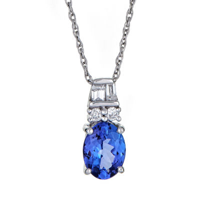 LIMITED QUANTITIES  Genuine Oval Tanzanite 14K White Gold Pendant
