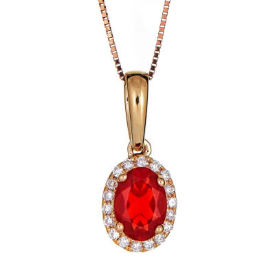 LIMITED QUANTITIES  Lab Created Oval Fire Opal 14K Yellow Gold Pendant