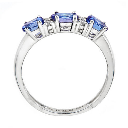 LIMITED QUANTITES!  5/8 CT. T.W. Blue Tanzanite 10K Gold 3-Stone Ring