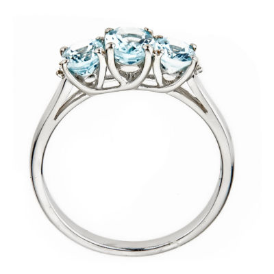 LIMITED QUANTITIES  Genuine Oval Aquamarine 10K White Gold Ring