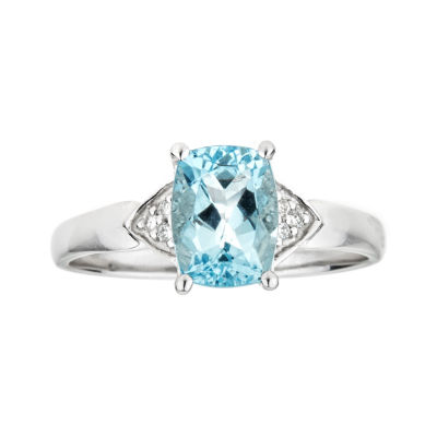 LIMITED QUANTITIES  Genuine Cushion-Cut Aquamarine 10K White Gold Ring