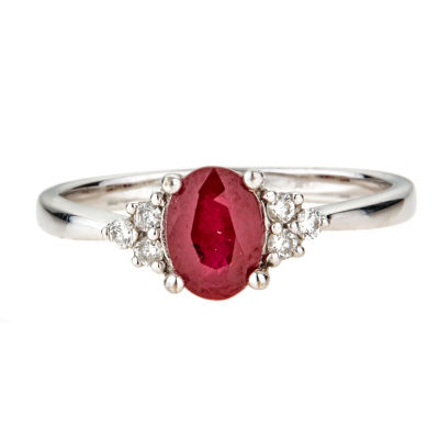 LIMITED QUANTITIES  Lead Glass-Filled Oval Ruby 10K White Gold Ring