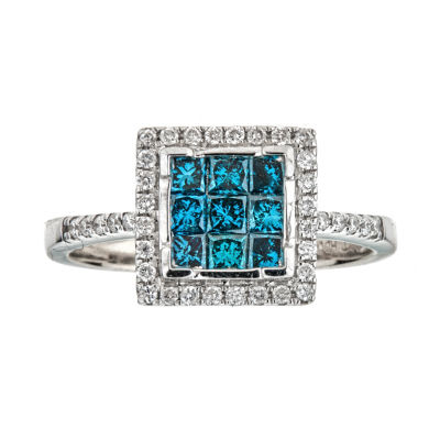 LIMITED QUANTITIES  3/4 CT. T.W. Color-Enhanced Blue Diamond 14K White Gold Ring
