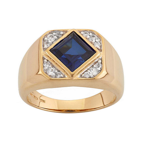 Mens Lab Created Blue And White Sapphire 14k Gold Over Silver Ring