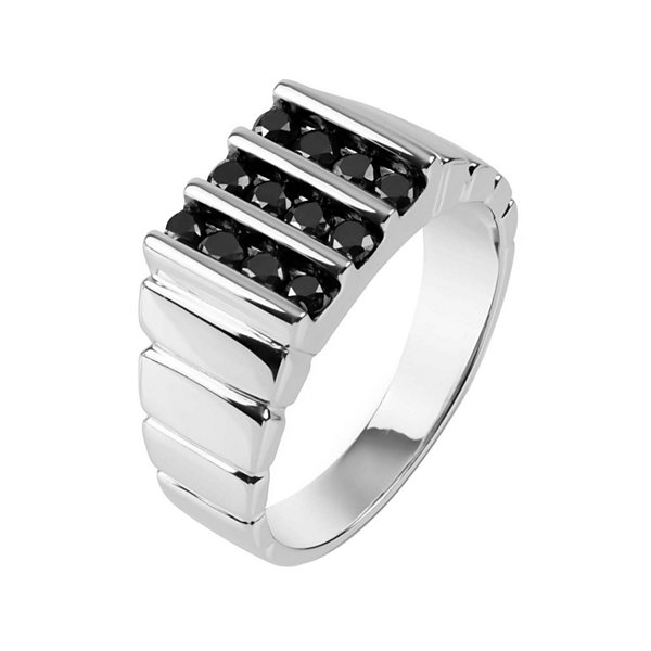 Mens Color Enhanced Black Diamond Sterling Silver Ring