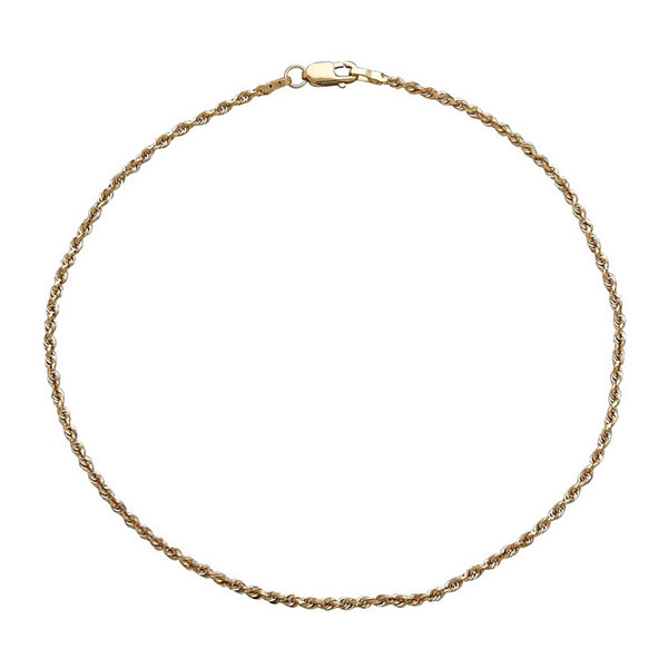 Infinite Gold™ 14K Yellow Gold Glitter Solid Anklet Bracelet