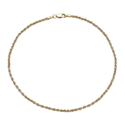 Infinite Gold™ 14K Yellow Gold Glitter Solid Rope Anklet Bracelet