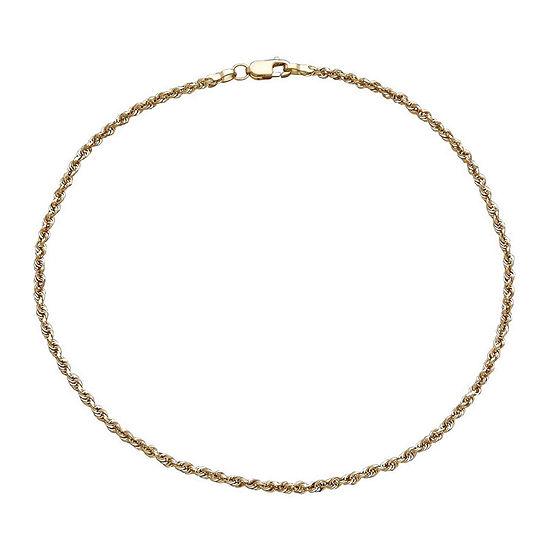 Infinite Gold™ 14K Yellow Gold Glitter Solid Rope Anklet Bracelet