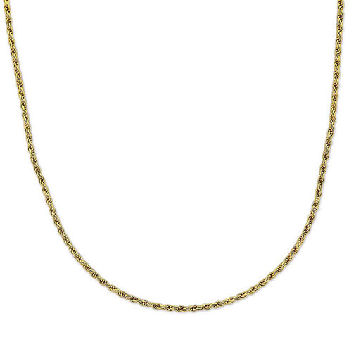 "Mens 24"" 18K Yellow Gold Over Silver Rope Chain Necklace"
