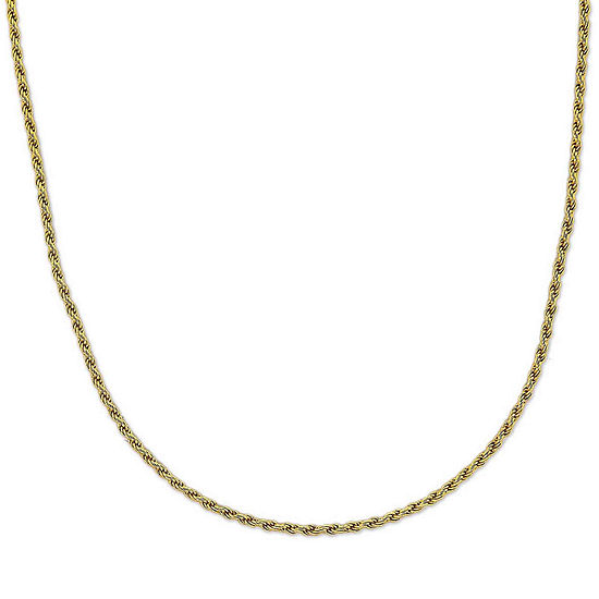 """Mens 24"""" 18K Yellow Gold Over Silver Rope Chain Necklace"""