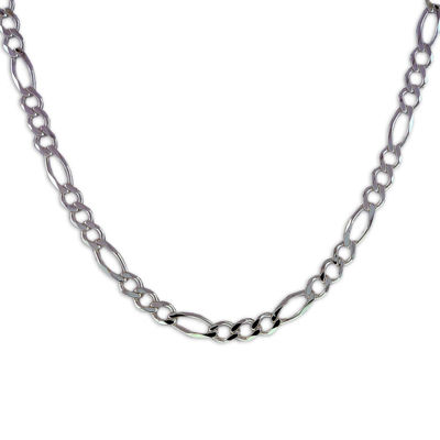 """Mens 20"""" Sterling Silver Figaro Chain Necklace"""