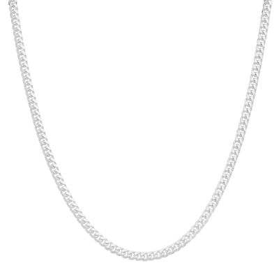"""Mens 20"""" Sterling Silver Flat Curb Chain Necklace"""
