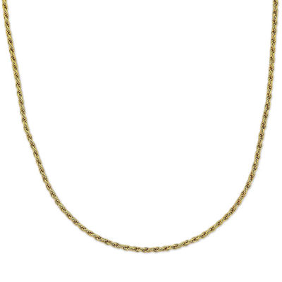 "Mens 30"" 18K Yellow Gold Over Silver Rope Chain Necklace"