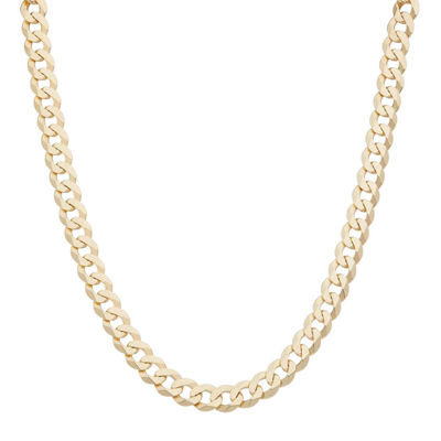 "Mens 18K Yellow Gold Over Silver 8.4mm 20"" Curb Chain Necklace"