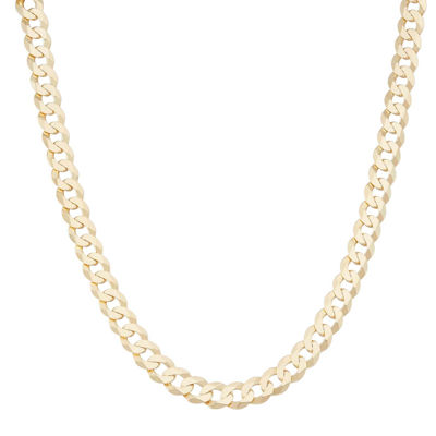 "Mens18K Yellow Gold Over Silver 8.4mm 24"" Curb Chain Necklace"